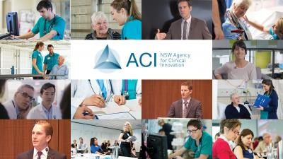 Graphic of ACI logo surrounded by images of people working in the Health industry